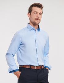 Men´s Long Sleeve Tailored Contrast Herringbone Shirt