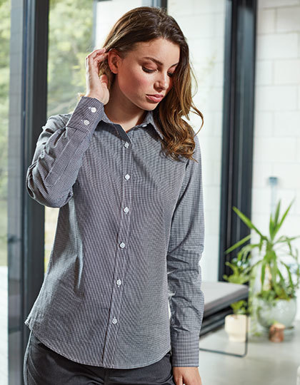 Ladies Microcheck (Gingham) Long Sleeve Shirt